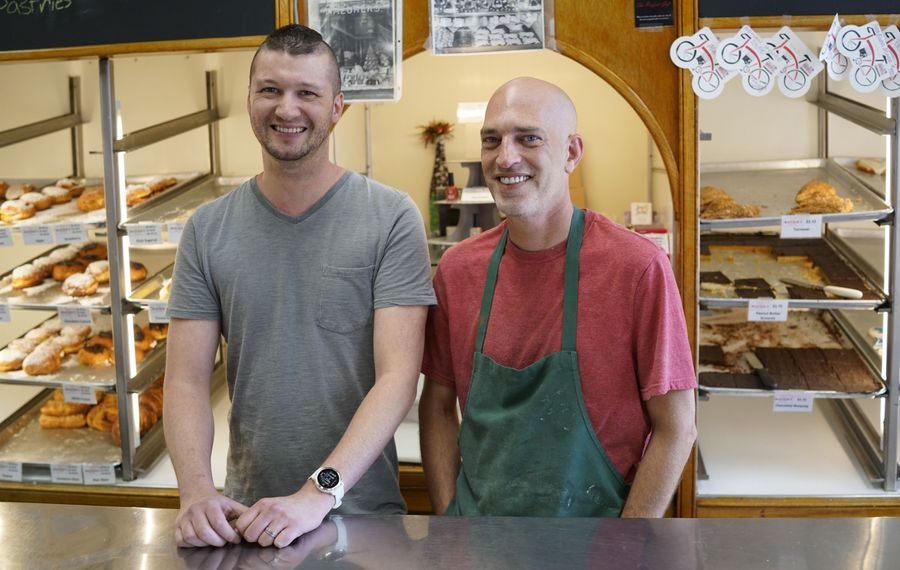 Nick Smith, left, and Ty Reynolds are in talks to sell Mazurek's Bakery, but they have plans of their own. (Derek Gee/News file photo)