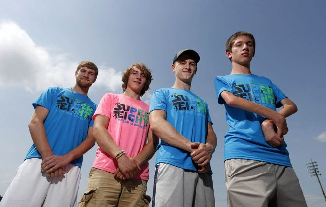 The Falconer track 4-x-800 state qualifying team from left to right: Andrew Young, Collin Barmore, Bryce Baglia and Rayven Sample (Mark Mulville/Buffalo News)