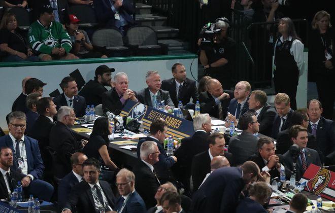 Sabres' officials at the 2018 NHL Draft (James P. McCoy/Buffalo News)