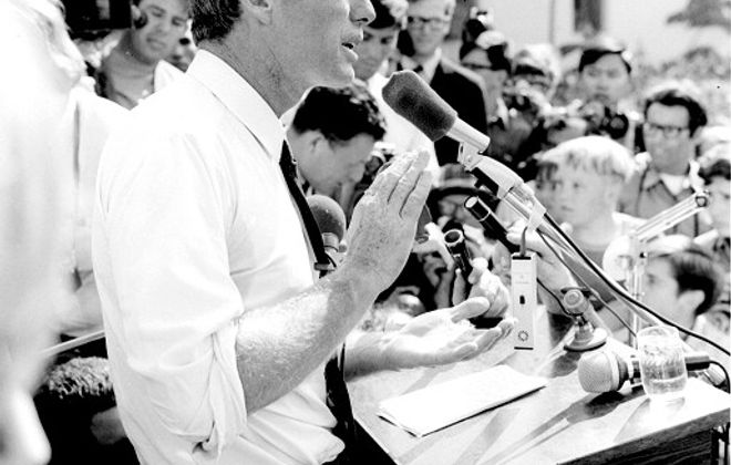 Sen. Robert F. Kennedy campaigns in Los Angeles in 1968. (Photo by Evan Freed)