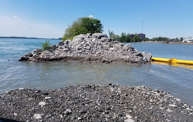 The Niagara River and north pond at Unity Island were connected this week by the U.S. Army Corps of Engineers. (Photo courtesy of the U.S. Army Corps of Engineers)