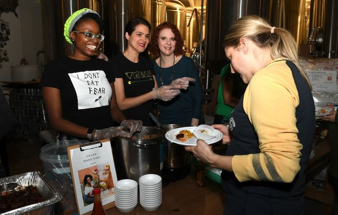 Smiling faces at a Taste of Vegan event at Resurgence from earlier in 2018. The Vegfest fundraiser runs again Tuesday. (Nancy J. Parisi/Special to The News)