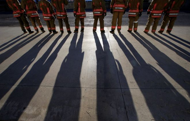 Recruits wait to start training at the Erie County Fire Training Academy on April 23, 2018. (Harry Scull Jr./ Buffalo News)