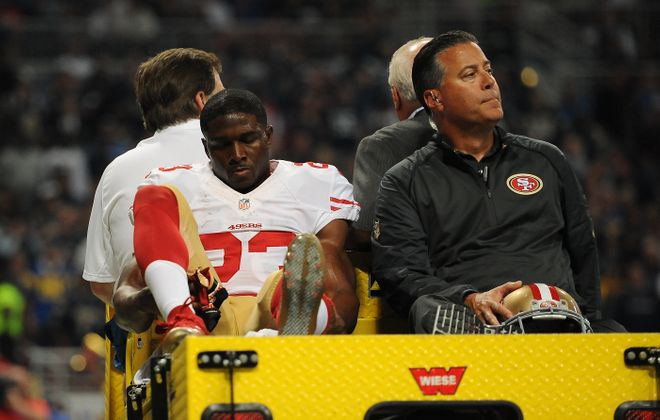 Reggie Bush s is carted off the field after being injured Nov. 1, 2015, against the St. Louis Rams in St. Louis. (Michael B. Thomas/Getty Images file photo)