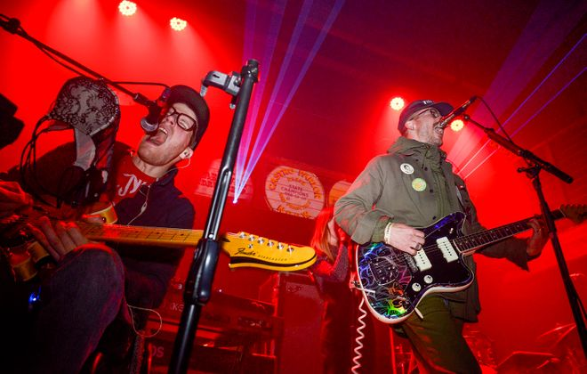 Eric Howk and John Gourley of Portugal. The Man, pictured performing in Oregon in 2018, have canceled their Artpark show. (Anthony Pidgeon/Getty Images)