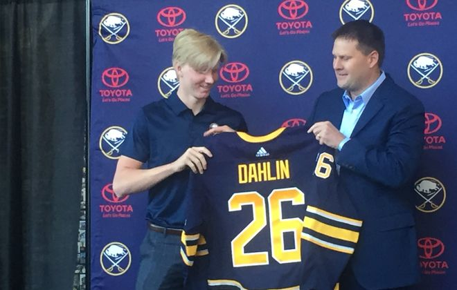 Rasmus Dahlin, left, and GM Jason Botterill (Mike Harrington/Buffalo)News