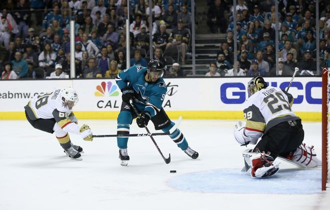 San Jose's Evander Kane cuts to the goal for a scoring chance against Vegas goalie Marc-Andre Fleury during Game 4 of the Western Conference semifinals (Getty Images).