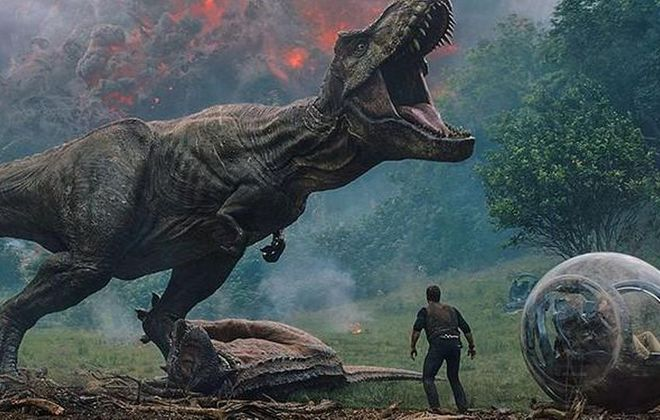 """""""Jurassic World: Fallen Kingdom"""" is now showing in area theaters.  (Universal Pictures/Amblin Entertainment)"""