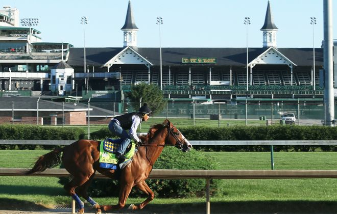 Justify, seeking to be the 13th Triple Crown winner in history, works five furlongs at Churchill Downs on June 4 in preparation for the Belmont Stakes. Photo Credit: Churchill Downs/Coady Photography
