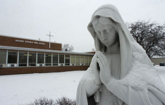 A statue of the Virgin Mary, seen outside Niagara Catholic High School on Jan. 24, 2007. (Harry Scull Jr./News file photo)