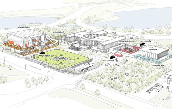 A schematic for the proposed expansion of the Albright-Knox Art Gallery shows a new northwest building, a new entry path and buried parking. (Rendering courtesy of the Albright-Knox Art Gallery)