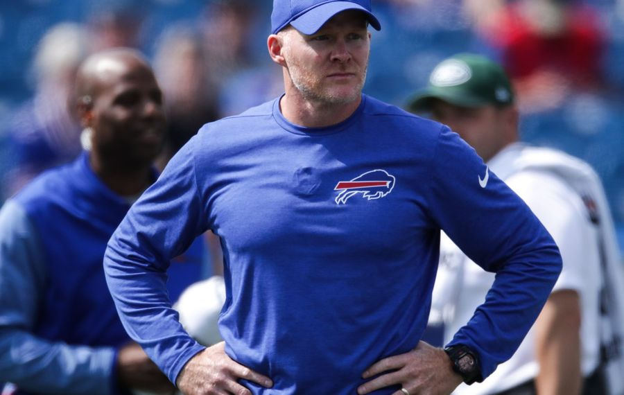 Bills head coach Sean McDermott has some thinking to do before the start of training camp. (Getty Images)