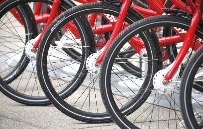 The Reddy Bike rental program has 30 rental sites in Niagara Falls as of Friday, Sept. 27, 2019. (Robert Kirkham/News file photo)