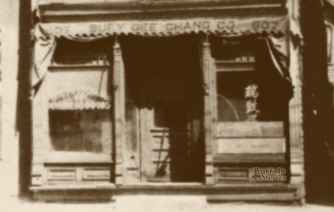 The storefront of Suey Gee Chang Co., a retail outlet that catered to Buffalo's Chinese population., at 507 Michigan Ave. (Buffalo Stories archives)