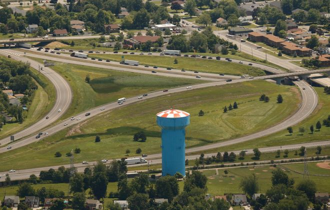 The interchange where the I-290 Youngmann Expressway meets the I-90 main line Thruway in Amherst, pictured on Thursday, July 10, 2014.  (Derek Gee/Buffalo News)