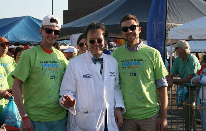 Kevan Busa (left) with Dr. Philip McCarthy, who oversaw Busa's blood stem cell transplant at the Roswell Park Comprehensive Cancer Center, in 2016 at the Ride for Roswell. On the right is Jason Ceresoli, another transplant patient. (Kevan Busa image)