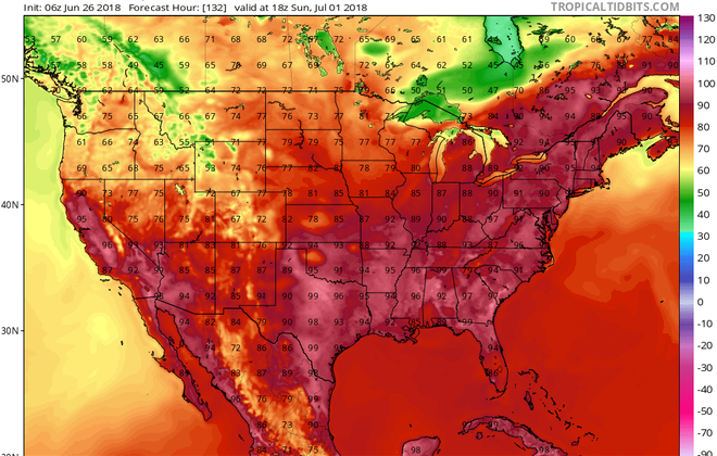 Temperatures in the 90s are forecast Sunday across much of the East, including portions of the Buffalo Niagara region. (TropicalTidbits.com)