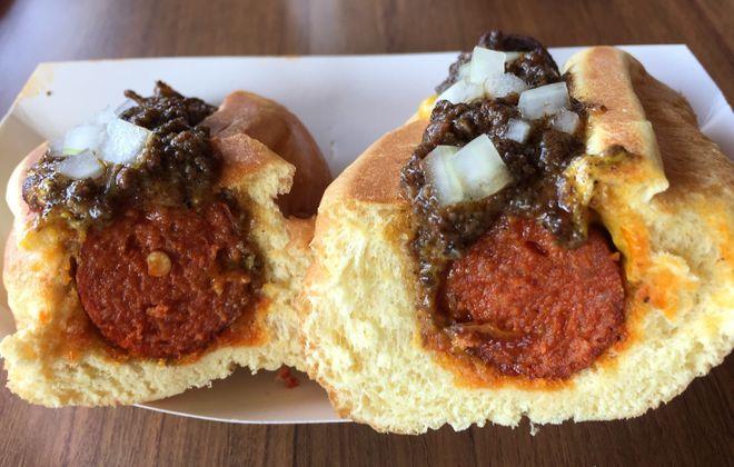 Cross section of half-smoke at Frank Gourmet Hot Dogs. (Andrew Galarneau/Buffalo News)