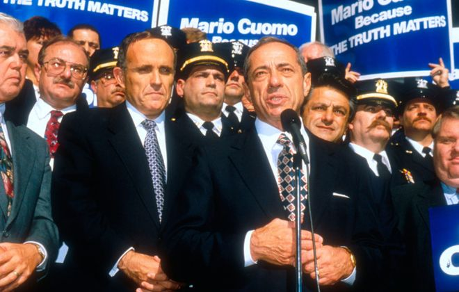 Mario Cuomo speaks at a press conference in 1994 after then-New York City Mayor Rudolph Giuliani, left, endorsed him for re-election as governor. (Photo by Porter Gifford/Liaison via New York magazine)