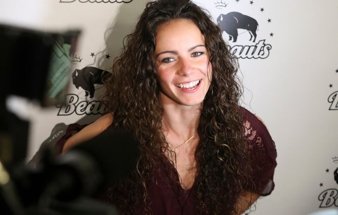 Shannon Szabados met the media on Thursday after she signed with the Buffalo Beauts. (James P. McCoy/Buffalo News)