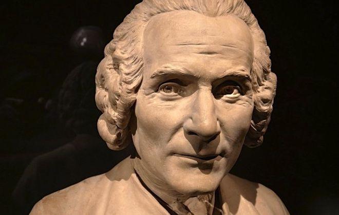 Statue of Jean Jacques Rousseau by sculptor Jean-Baptiste Eugene Farochon at the Louvre in Paris.