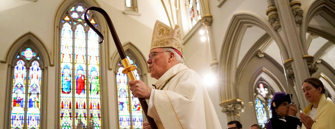 Bishop Richard J. Malone walks down the aisle in the procession during the ordination of four new priests at St. Joseph Cathedral on Saturday, June 2, 2018. (Derek Gee/Buffalo News)
