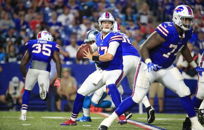 Josh Allen throws during the 2018 preseason. (Harry Scull Jr./News file photo)