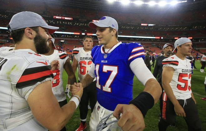 Cleveland Browns quarterback Baker Mayfield and Buffalo Bills Josh Allen greet each other after the game. (Harry Scull Jr./Buffalo News)
