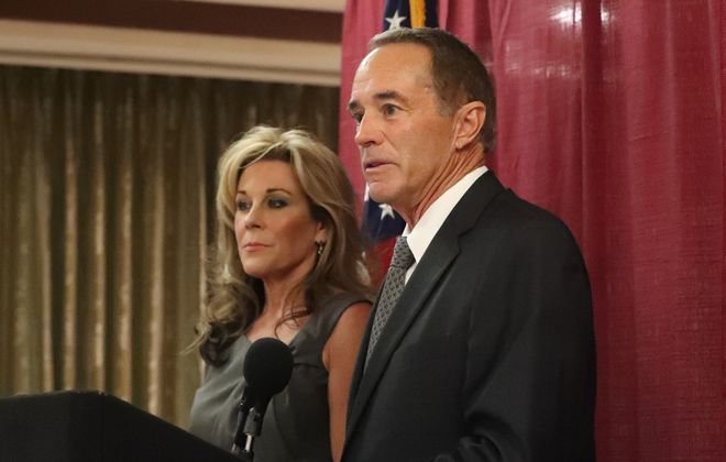 The day he was indicted, Rep. Chris Collins held a news conference with his wife, Mary, to address the insider trading charges. (James P. McCoy/News file photo)