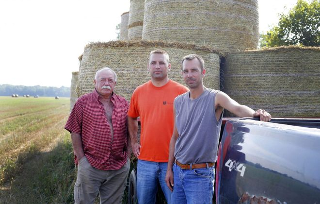 Members of the Ohol family of Cambria are leasing land for the Bear Ridge Solar project. (Mark Mulville/Buffalo News)