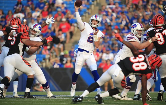 Bills quarterback Nathan Peterman throws against the Cincinnati Bengals. (Harry Scull Jr./Buffalo News)