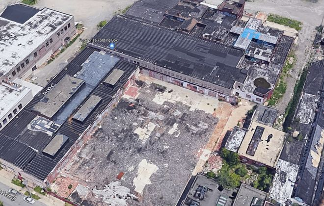 This aerial view of 308 Crowley Ave. shows both the BUDC property and Enterprise Folding Box next to it.