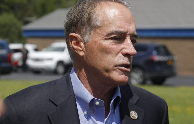 Indicted Rep. Chris Collins resumed campaigning four days after reversing himself and announcing that he would remain on the ballot in November. (John Hickey/News file photo)