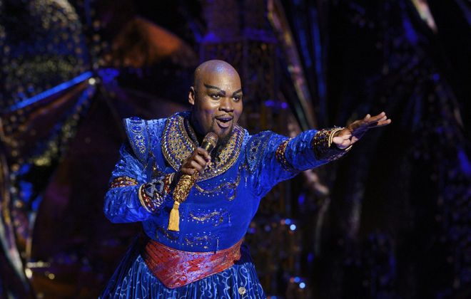 """Michael James Scott is a showstopper in his magical performance as Genie in """"Aladdin,"""" now on stage at Shea's Buffalo Theatre. (Photo by Deen van Meer)"""