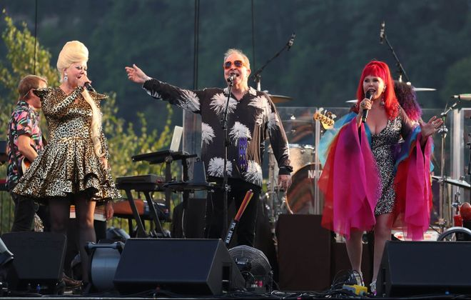 Cindy Wilson, left, Fred Schneider and Kate Pierson got the sold-out Artpark crowd dancing during the B-52's set. (Sharon Cantillon/Buffalo News)