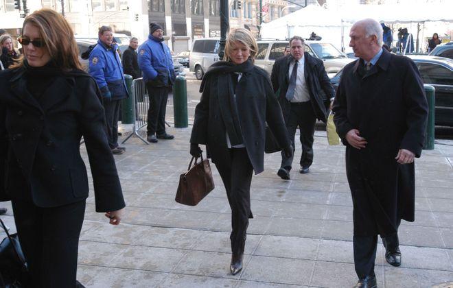 Martha Stewart  arrives at federal court January 29, 2004, in New York City. Stewart is charged with obstruction of justice, securities fraud, lying to investigators as well as conspiracy. The counts carry a total of approximately 30 years of prison time, if convicted. (Photo by Angela Jimenez/Getty Images)