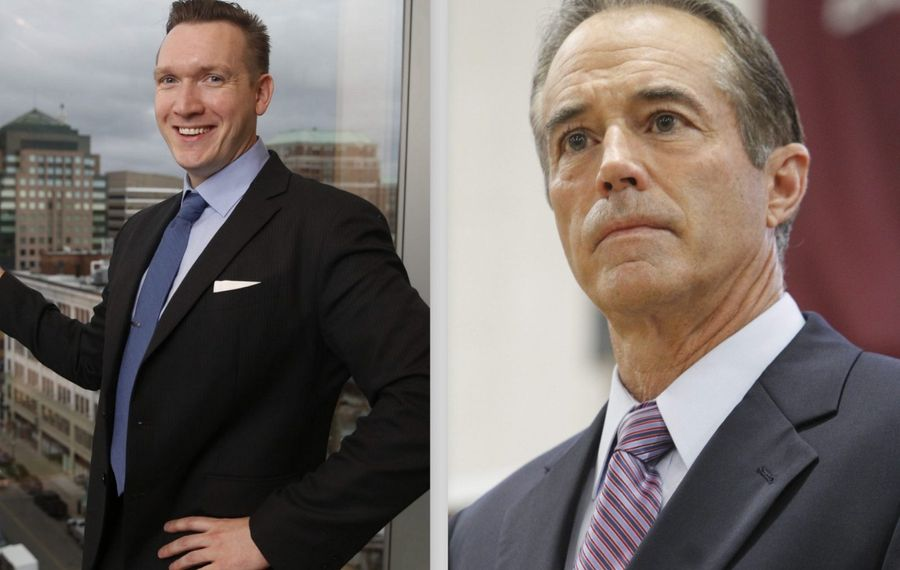 Republican Rep. Chris Collins, right, is in a heated battle with his Democratic opponent, Grand Island Supervisor Nate McMurray. (News file photos)