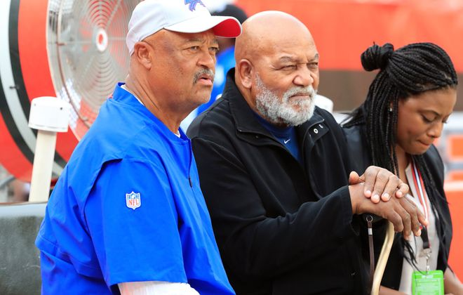 Bills wide receivers coach Terry Robiskie, left, was fired Wednesday. (Harry Scull Jr./Buffalo News)
