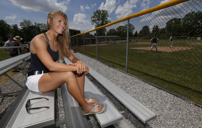 Kate Brownell near the field where she threw the perfect perfect game. (Robert Kirkham/Buffalo News)