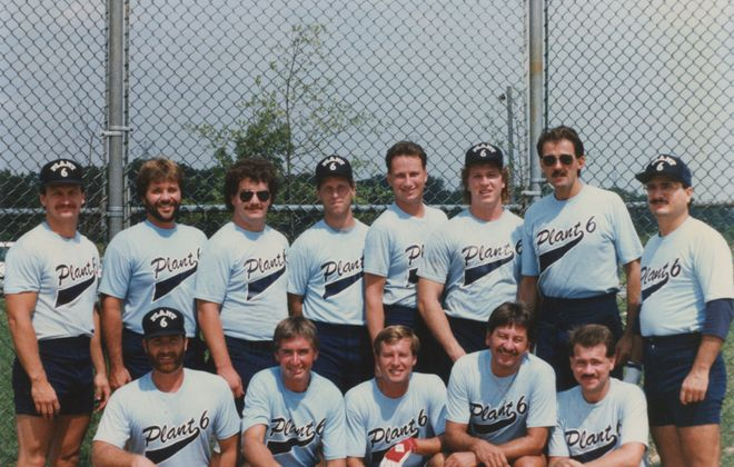 Plant 6 in 1990. Front row: Mike Dugan, Mike Meyers, Greg Rogers, Benjy Bluman, Jeff Kubera. Back row: Randy Bartholemew, Dave Niemann, Tony Dean, Steve Sutton, Mike Grieco, Mark Schraven, Rick Evans and Larry Garbo.