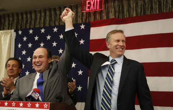 State Sen. Chris Jacobs, right, stands with Nick Langworthy in 2016. Langworthy, then the Erie County Republican chairman is now the party's state leader. (Harry Scull Jr./News file photo)