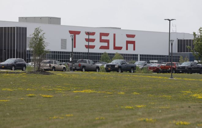Tesla's solar panel factory in South Buffalo is affected by a big drop in deployments. (Derek Gee/News file photo)