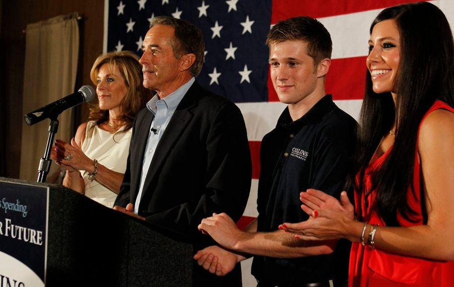 Chris Collins, his wife Mary, son, Cameron, and daughter Caitlin, in happier times when he won his 2012 congressional primary. Now all, plus Cameron's fiancé and future in-laws, must deal with the fallout from the insider trading convictions. (Harry Scull Jr./News file photo)