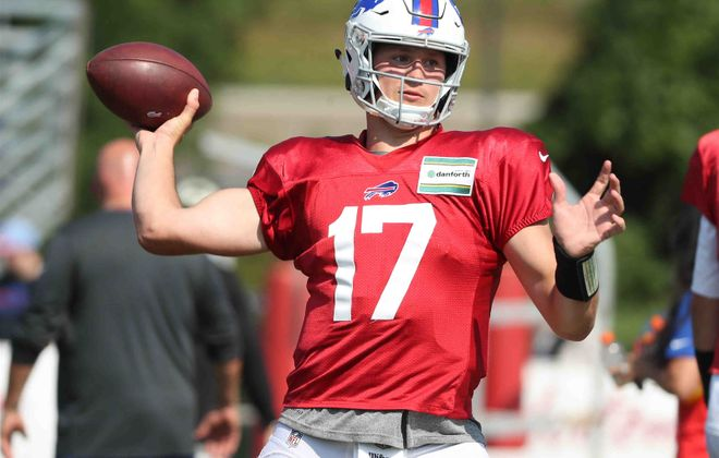 Bills quarterback Josh Allen worked with the starters during Monday's practice. (James P. McCoy/Buffalo News)