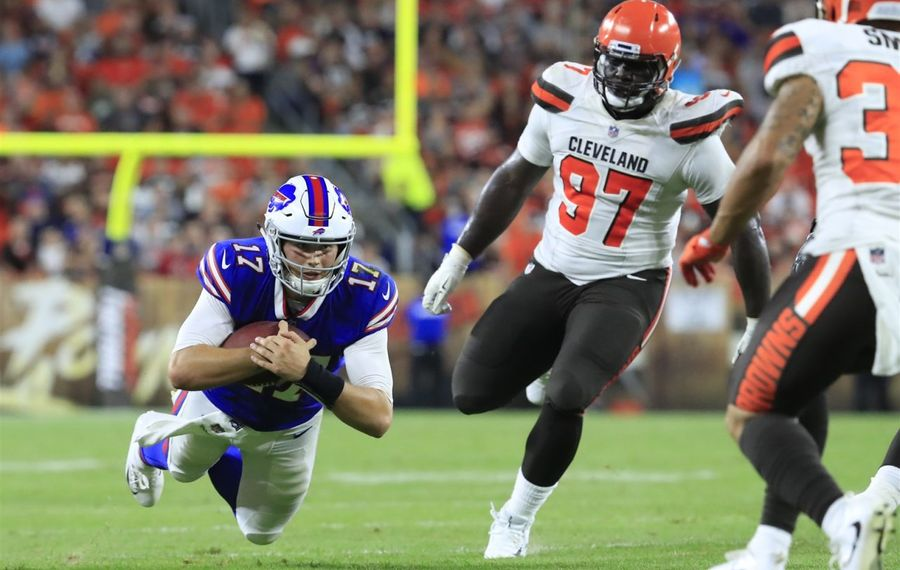 Quarterback Josh Allen dives for yardage against the Cleveland Browns during second-quarter action on Aug. 17, 2018, at FirstEnergy Stadium.(Harry Scull Jr./Buffalo News)