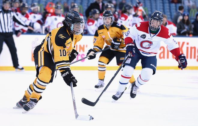 Blake Bolden (10) played two seasons with the the Boston Pride of the NWHL. (Getty Images)