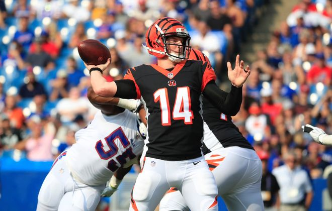 Quarterback Andy Dalton and the Bengals play on Monday Night Football. (Harry Scull Jr./News file photo)