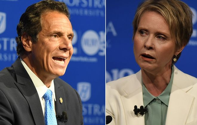 Wednesday's sometimes-nasty debate at Hofstra University on Long Island between Gov. Andrew M. Cuomo and Democratic primary challenger Cynthia Nixon saw both candidates ignoring time limits and debate moderators. (Photos courtesy Newsday)