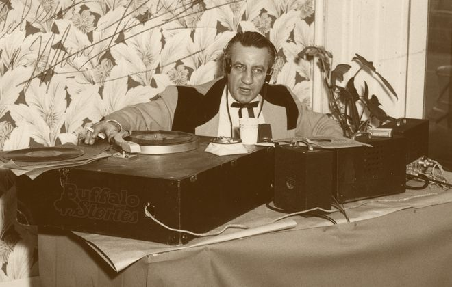 """George """"Hound Dog"""" Lorenz, broadcasting live in the mid 1950s. (From the Collection of Betty Shampoe)"""