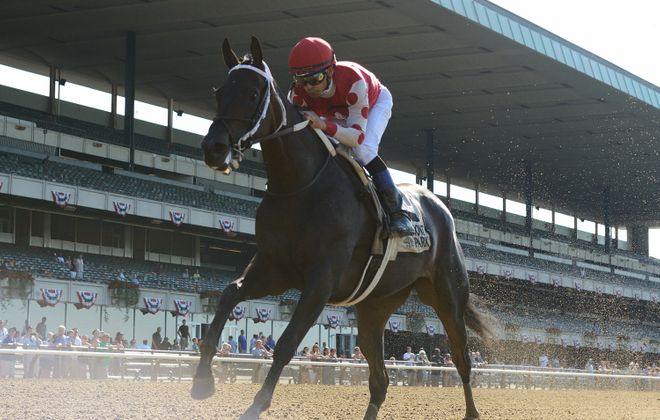 Alabama favorite Midnight Bisou, with Mike Smith up, won the Mother Goose earlier in the year. Photo Credit: Chelsea Durand/NYRA
